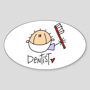 Male Dentist Oval Sticker