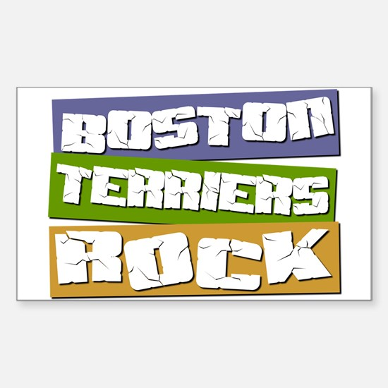 Boston Terriers ROCK Rectangle Decal