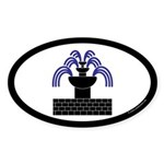 Fontaine Dans Sable Oval Sticker (10 pk)