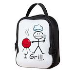 Grilling Stick Figure Neoprene Lunch Bag