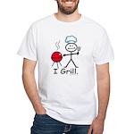 Grilling Stick Figure White T-Shirt