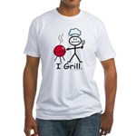Grilling Stick Figure Fitted T-Shirt