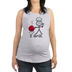 Grilling Stick Figure Maternity Tank Top