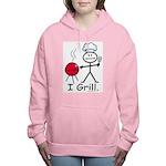 Grilling Stick Figure Women's Hooded Sweatshirt