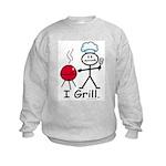 Grilling Stick Figure Kids Sweatshirt