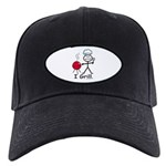 Grilling Stick Figure Black Cap with Patch