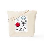 Grilling Stick Figure Tote Bag