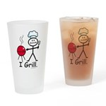 Grilling Stick Figure Drinking Glass