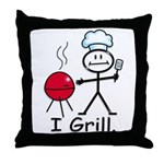 Grilling Stick Figure Throw Pillow