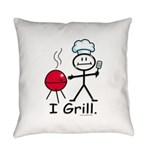 Grilling Stick Figure Everyday Pillow