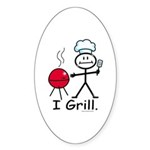 Grilling Stick Figure Sticker (Oval 50 pk)