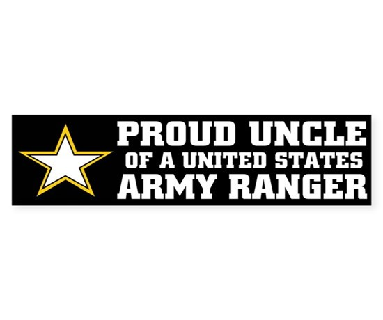 Proud uncle army ranger bumper bumper bumper sticker