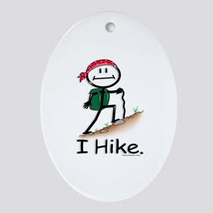 Hiking Stick Figure Oval Ornament