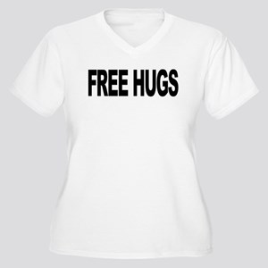 Free Hugs (L) Women's Plus Size V-Neck T-Shirt