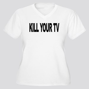 Kill Your TV (L) Women's Plus Size V-Neck T-Shirt