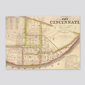Vintage Map of Cincinnati Ohio (184 5'x7'Area Rug
