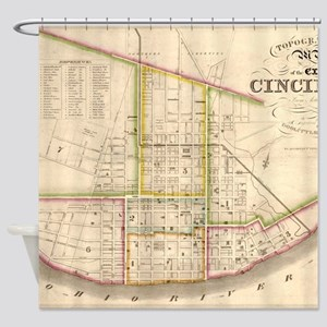 Vintage Map of Cincinnati Ohio (184 Shower Curtain