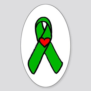 """Heart transplant ribbon..."" Oval Sticker"