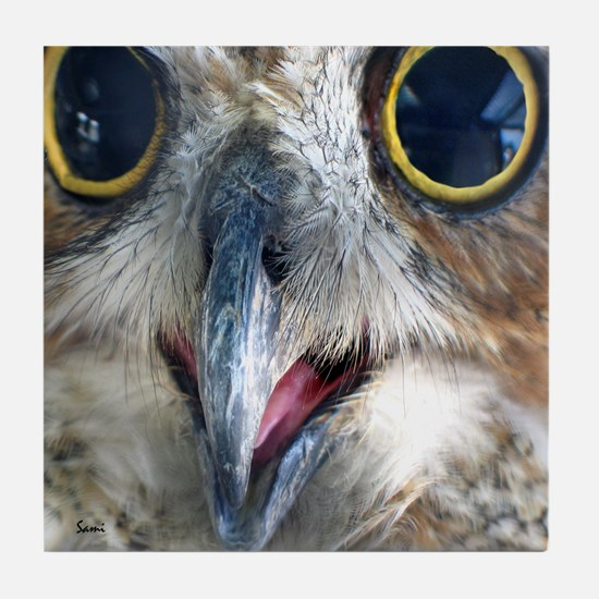 Great Horned Owl Eyes Tile Coaster