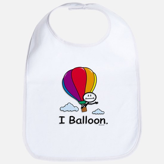 Hot Air Ballooning Stick Figure Cotton Baby Bib