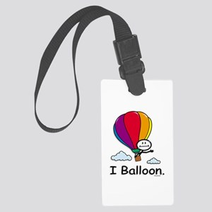 Hot Air Ballooning Stick Figure Large Luggage Tag