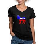Obama Poker Women's V-Neck Dark T-Shirt