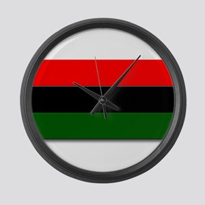 Red Black and Green Flag Large Wall Clock