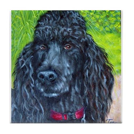 Black Poodle 2 Tile Coaster
