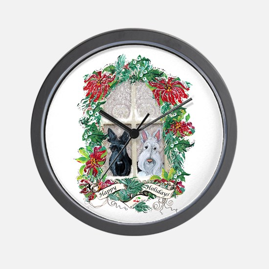Scottie Terrier Holiday Wall Clock