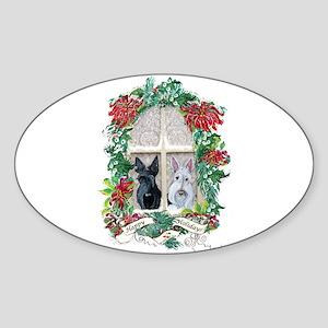 Scottie Terrier Holiday Oval Sticker