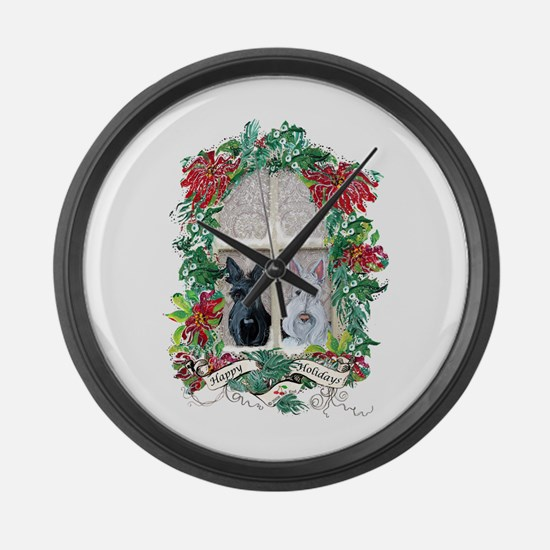Scottie Terrier Holiday Large Wall Clock