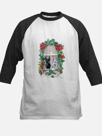 Scottie Terrier Holiday Kids Baseball Jersey