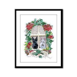 Scottie Terrier Holiday Framed Panel Print