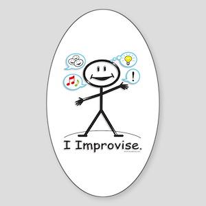 Improve comedy stick figure Sticker (Oval)