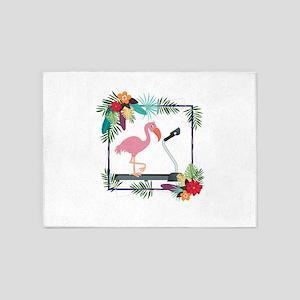 Flamingo on Treadmill 5'x7'Area Rug