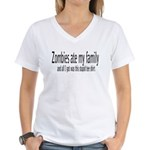 Zombies at my family... Women's V-Neck T-Shirt