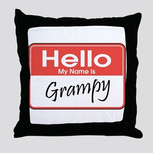 Hello, My Name is Grampy Throw Pillow