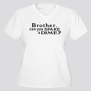 Spare a Dime Women's Plus Size V-Neck T-Shirt