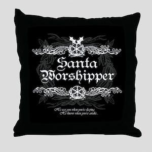 Santa Worshipper Throw Pillow