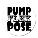 Bodybuilding Pump Flex Pose Round Car Magnet