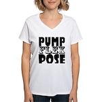Bodybuilding Pump Flex Pose Women's V-Neck T-Shirt