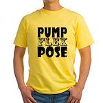 Bodybuilding Pump Flex Pose Yellow T-Shirt