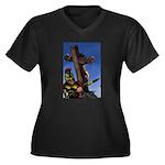Crucifixion Women's Plus Size V-Neck Dark T-Shirt