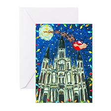 Merry Christmas Santa At Cathedral Greeting Cards
