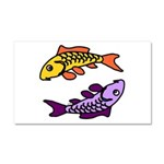 Pair of Abstract Colorful Carp Car Magnet 20 x 12