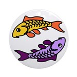 Pair of Abstract Colorful Carp Round Ornament