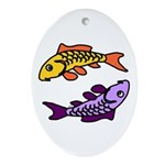 Pair of Abstract Colorful Carp Oval Ornament