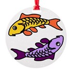 Pair of Abstract Colorful Carp Ornament