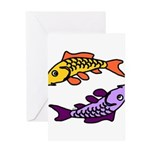 Pair of Abstract Colorful Carp Greeting Cards