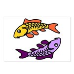 Pair of Abstract Colorful Carp Postcards (Package